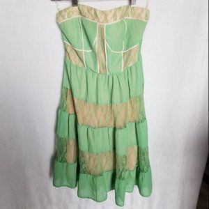 NWT Flying Tomato Green/Peach lace strapless dress